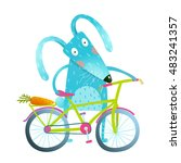 funny blue bunny with bicycle... | Shutterstock .eps vector #483241357