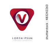 logo v letter red colored in...   Shutterstock .eps vector #483242263