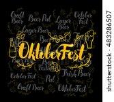 oktoberfest gold lettering over ... | Shutterstock .eps vector #483286507