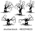 set of five black silhouettes... | Shutterstock .eps vector #483294823