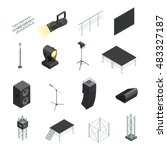 isometric icons set of stage... | Shutterstock .eps vector #483327187