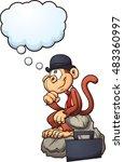 Thinking Monkey Sitting On A...