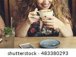 woman drinking coffee breakfast ...   Shutterstock . vector #483380293