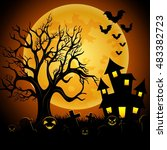 halloween night background with ... | Shutterstock . vector #483382723