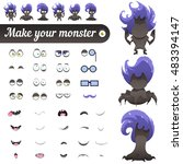 monster creation kit. set for... | Shutterstock .eps vector #483394147