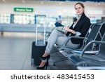 young female passenger at the... | Shutterstock . vector #483415453