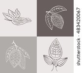 hand drawn cacao beans labels... | Shutterstock .eps vector #483420067