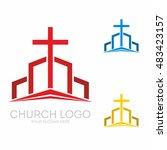 church logo. christian symbols. ... | Shutterstock .eps vector #483423157