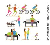 vector set of cartoon... | Shutterstock .eps vector #483429397