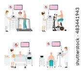ecg test or exercise stress... | Shutterstock .eps vector #483441943
