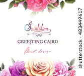 greeting card with roses. can... | Shutterstock .eps vector #483449617