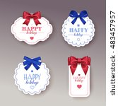 gift tag with bow. | Shutterstock . vector #483457957