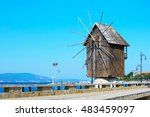Windmill And Old Town Panorama...