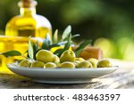bowl of olives with green... | Shutterstock . vector #483463597