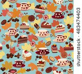 seamless pattern with cups ... | Shutterstock .eps vector #483474403