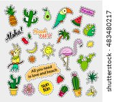 fashion patch badges. tropical... | Shutterstock .eps vector #483480217
