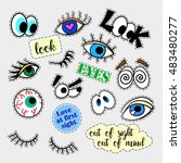 fashion patch badges. eyes set. ... | Shutterstock .eps vector #483480277