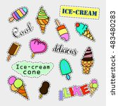 fashion patch badges. ice cream ... | Shutterstock .eps vector #483480283