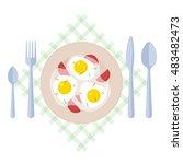 breakfast  scrambled eggs ... | Shutterstock .eps vector #483482473