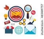 envelope target bulb megaphone... | Shutterstock .eps vector #483489757