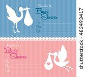 stork cartoon icon. baby shower ... | Shutterstock .eps vector #483493417