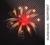 festive red firework vector... | Shutterstock .eps vector #483495847