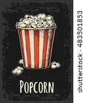 carton bucket full popcorn with ... | Shutterstock .eps vector #483501853