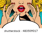 sexy surprised blonde pop art... | Shutterstock .eps vector #483509017