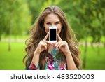 young beautiful brunette woman... | Shutterstock . vector #483520003