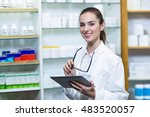 portrait of pharmacist holding... | Shutterstock . vector #483520057