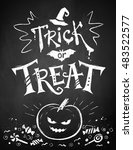 chalk drawn trick or treat... | Shutterstock .eps vector #483522577