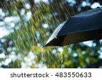 rain  close up of umbrella in... | Shutterstock . vector #483550633