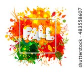 text fall in frame in paper... | Shutterstock .eps vector #483558607