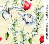 stylized flowers illustration ... | Shutterstock . vector #483569413