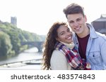 a happy young couple smile at... | Shutterstock . vector #483574843