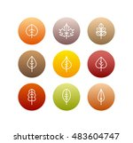 vector autumn leaves icons set  ... | Shutterstock .eps vector #483604747