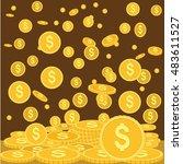 gold coins falling down vector... | Shutterstock .eps vector #483611527