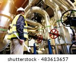 industrial worker with spanner... | Shutterstock . vector #483613657