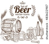 set with beer icons. sketch... | Shutterstock .eps vector #483622987