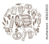 set with beer icons. sketch... | Shutterstock .eps vector #483623023