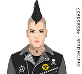 punk guy | Shutterstock .eps vector #483631627