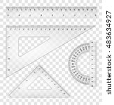 white transparent rulers and... | Shutterstock .eps vector #483634927