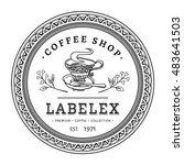 vintage round coffee shop label ...   Shutterstock .eps vector #483641503
