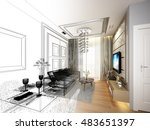 sketch design of living  3d... | Shutterstock . vector #483651397
