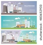 clean and polluted city banners ... | Shutterstock .eps vector #483652933