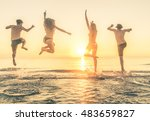Group Of Happy People Jumping...