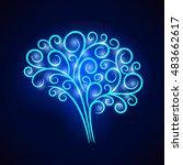 abstract vignette neon brain....   Shutterstock .eps vector #483662617