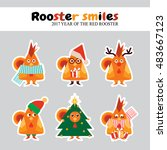 vector flat icon set. kawaii... | Shutterstock .eps vector #483667123