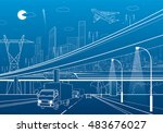 car overpass  infrastructure ... | Shutterstock .eps vector #483676027