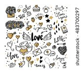 Set Of Romantic Vector Icon In...